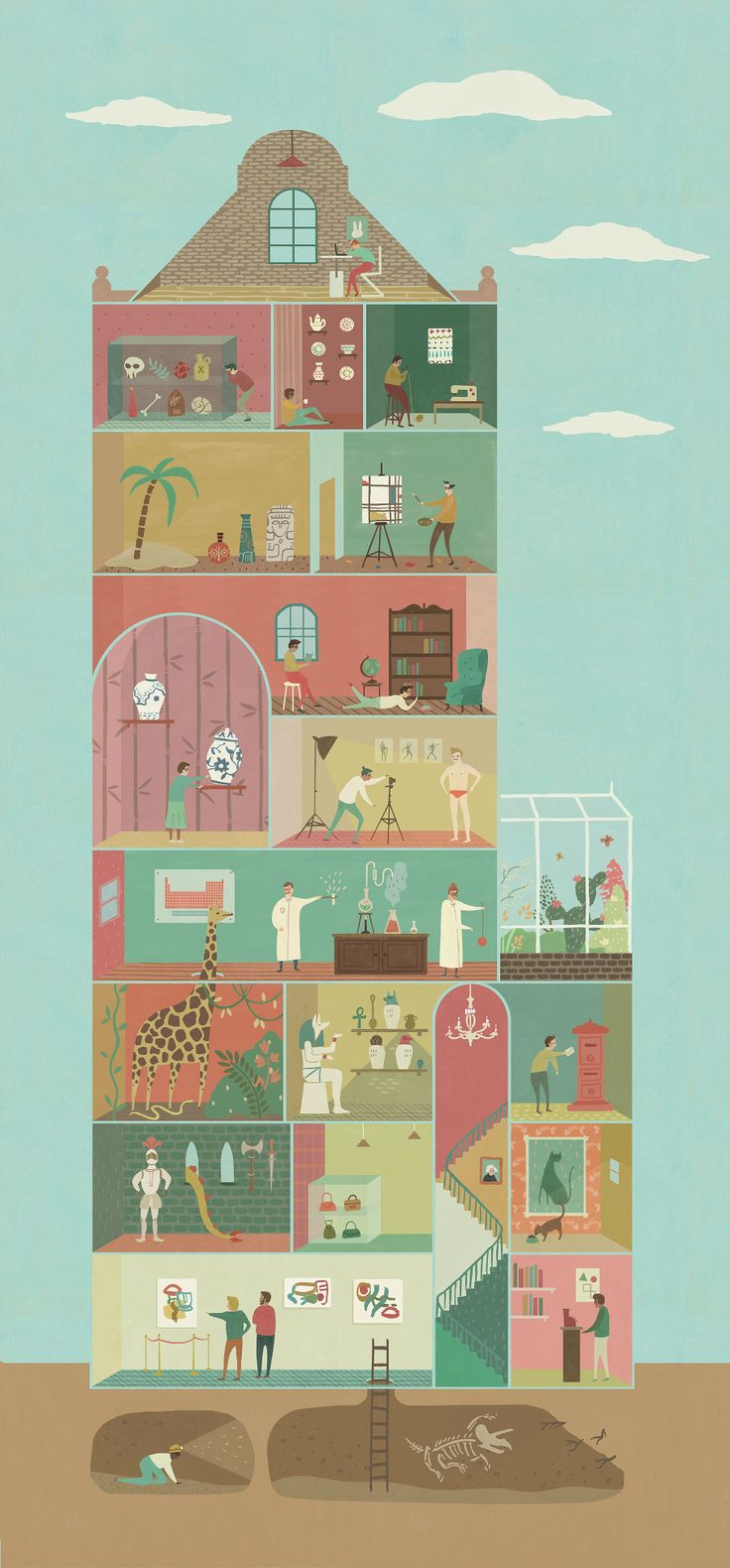 Flow museum poster ruby taylor illustration · house drawingflow