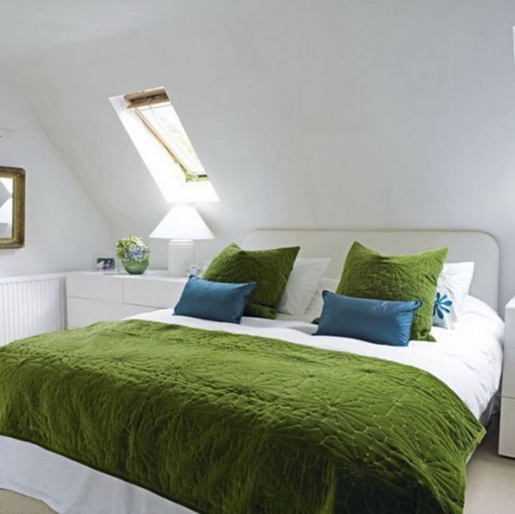 teen room wide sized master bed decorated with green white duvet cover at attic bedroom design ideas combined with white interior and minimalist decor for