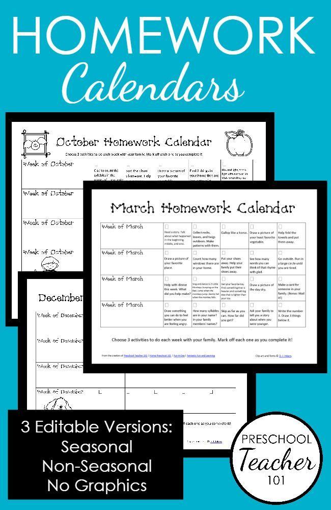 Preschool Homework Calendars-Editable, Printable Calendars with an entire year's…