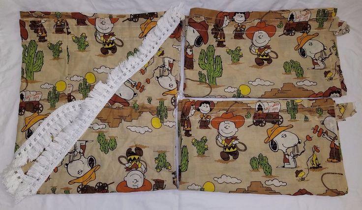 Vintage Peanuts Spike Snoopy Charlie Brown Curtains Westward Ho Cowboy Western #UnitedFeatureSyndicateInc