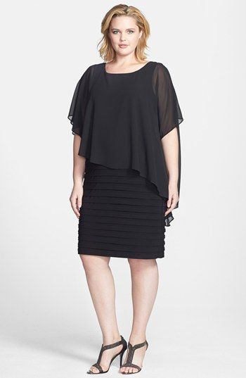 Betsy & Adam Chiffon Overlay Shutter Pleat Sheath Dress (Plus Size) available at #Nordstrom -- Mother of the Bride