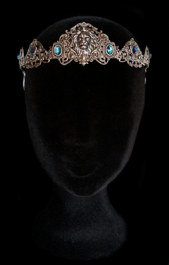 Lion Crown Silver Circlet Tiara Blue Turquoise Medieval Renaissance Middle Age Jewellery Cersei Lannister Game of Thrones