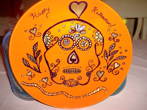 Happy Halloween Sugar Skull Painted Orange Plate with by missy69