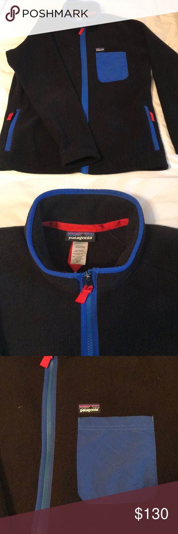 Patagonia, fleece jacket. Soft, Black Patagonia fleece zip up jacket with front breast pocket. Patagonia Sweaters Zip Up