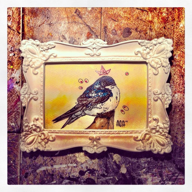 #AGA #art #artist #agaartist #work #watercolor #paint #pencil #bird #crown #blue #swallow