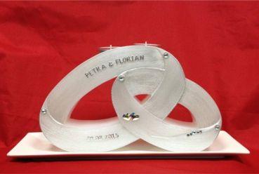 Candle & Rings - Hochzeitskerze zwei Ringe mit Teelichteinsatz silber