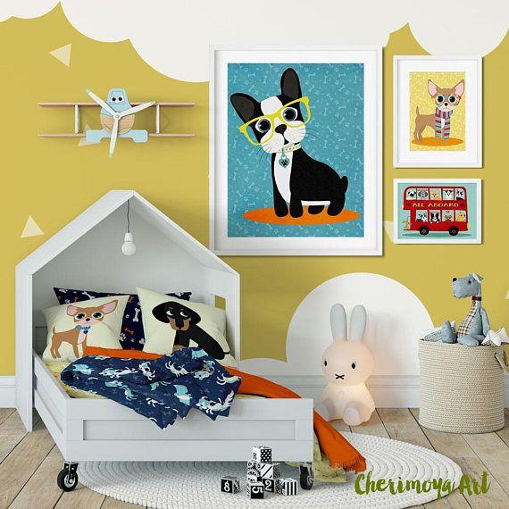 Boston Terrier Art Print Boston Terrier Wall Art Dog Art Print