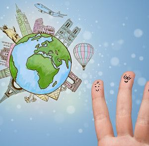 Cheerful finger smileys with famous landmarks of the globe