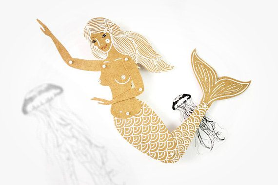 Mermaid - Articulated Paper Doll by Dubrovskaya. Kraft paper, hand painted, MADE To Order.