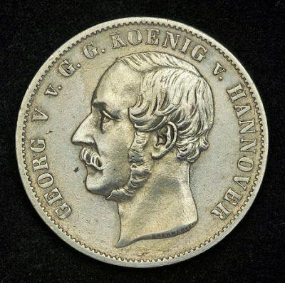 German CoinsMining ThalerSilver Coin of 1856, George V King of Hanover