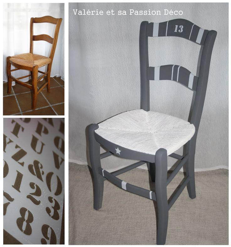 """Chaise """"13"""" Couleur Gris """"Ciel d'Orage"""" motifs Bleu """"Ciel d'Azur"""" de chez Passion Déco"""