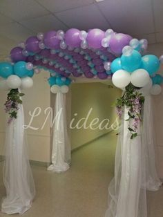 #decoration #balloons #column #entrada #entrance #canopy #wedding #quinceañera #aqua #purple #lavender