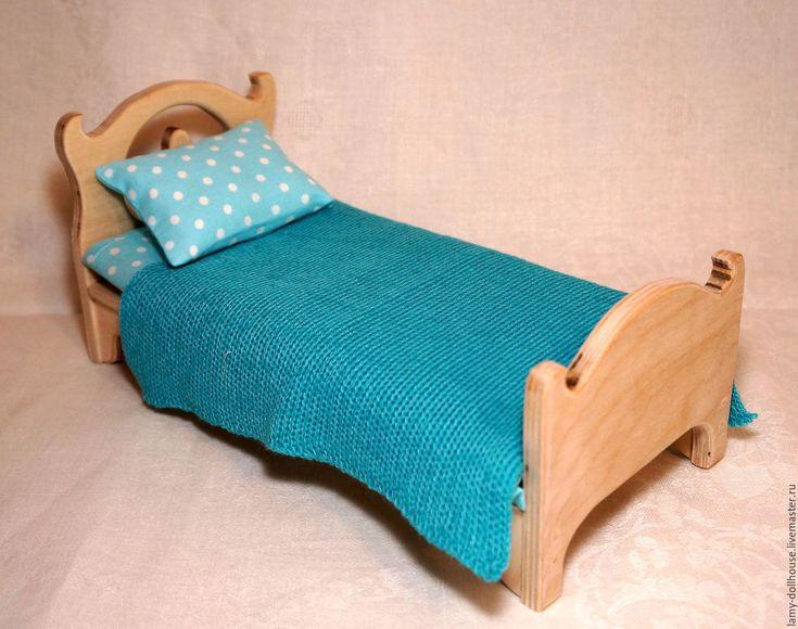 Купить Кровать для куклы (4) - комбинированный, мебель для кукол, кукольный дом, кукольный домик, заготовка