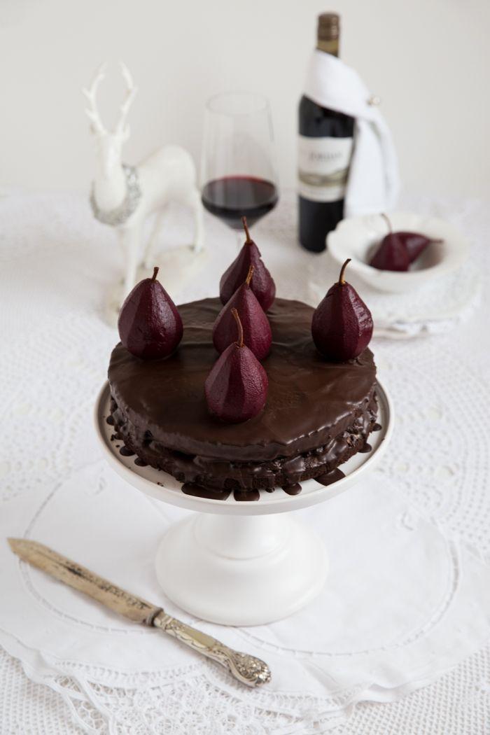 Red wine and chocolate cake