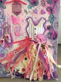 Mixed media dress and shoes.  Beautiful assemblage art