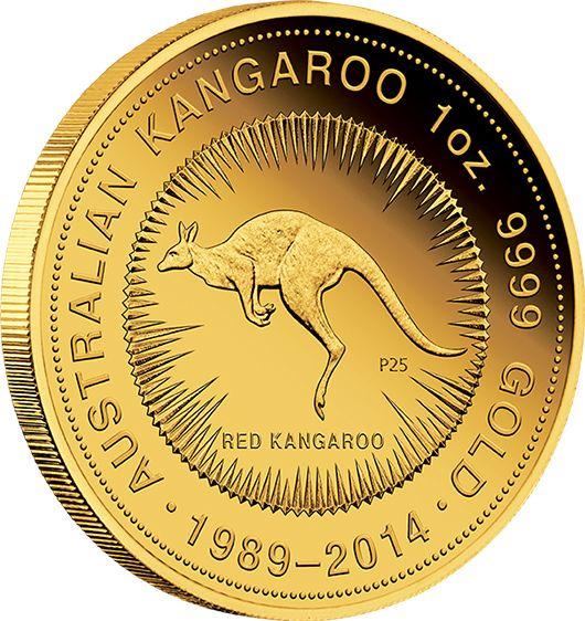 2014 Australian Kangaroo 25th Anniversary 1oz Gold Proof Coin. Only 600 of…