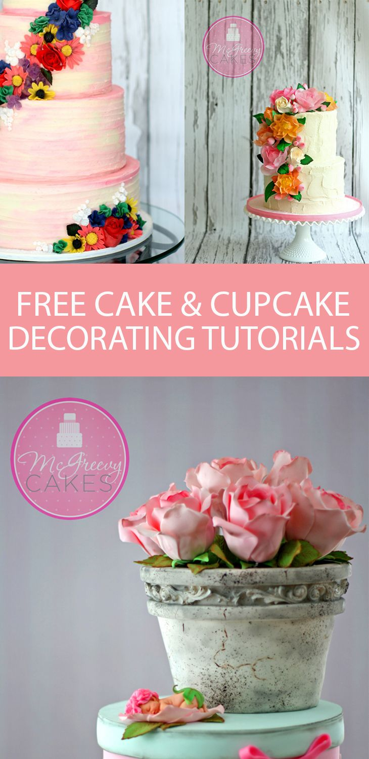 TONS of free cake & cupcake decorating tutorials on McGreevy Cakes! From buttercream frosting and flowers to Disney characters, there's a cake tutorial for you!