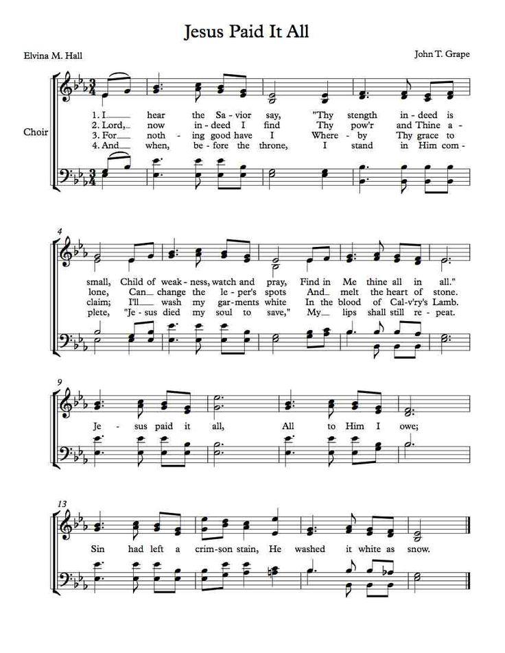 Free Choir Sheet Music Jesus Paid It All Arts