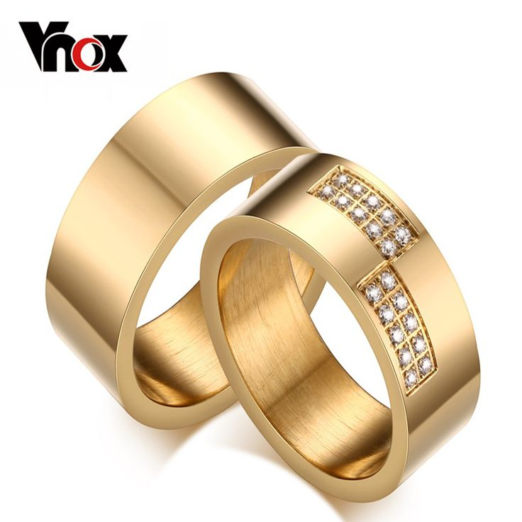 Vnox Gold Plated Engagement Ring for Women Men Wedding CZ Zirconia Trendy Jewelry