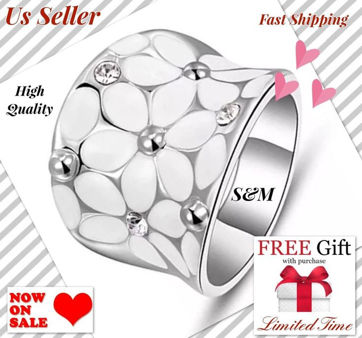 +2PCS GIFT 18K White Gold Plated Enamel Flower Crystal Ring Size 8 Fashion Women #MACKJEWELRY