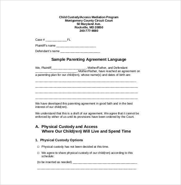 Joint Custody Parenting Plan Template Luxury Custody Agreement Template 10 Free Word Pdf Document Parenting Plan Custody Agreement Schedule Template
