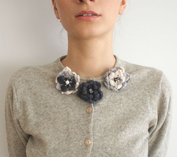 Soft Blossoms  // Set of Crochet Ombre Brooches in by Karakoncolos, $10.00