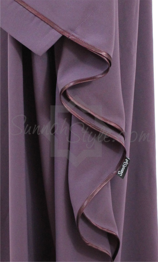 Satin Trimmed Full Butterfly Abaya (Lilac) by Sunnah Style #SunnahStyle #farasha #butterflyabaya #abayastyle #satintrim