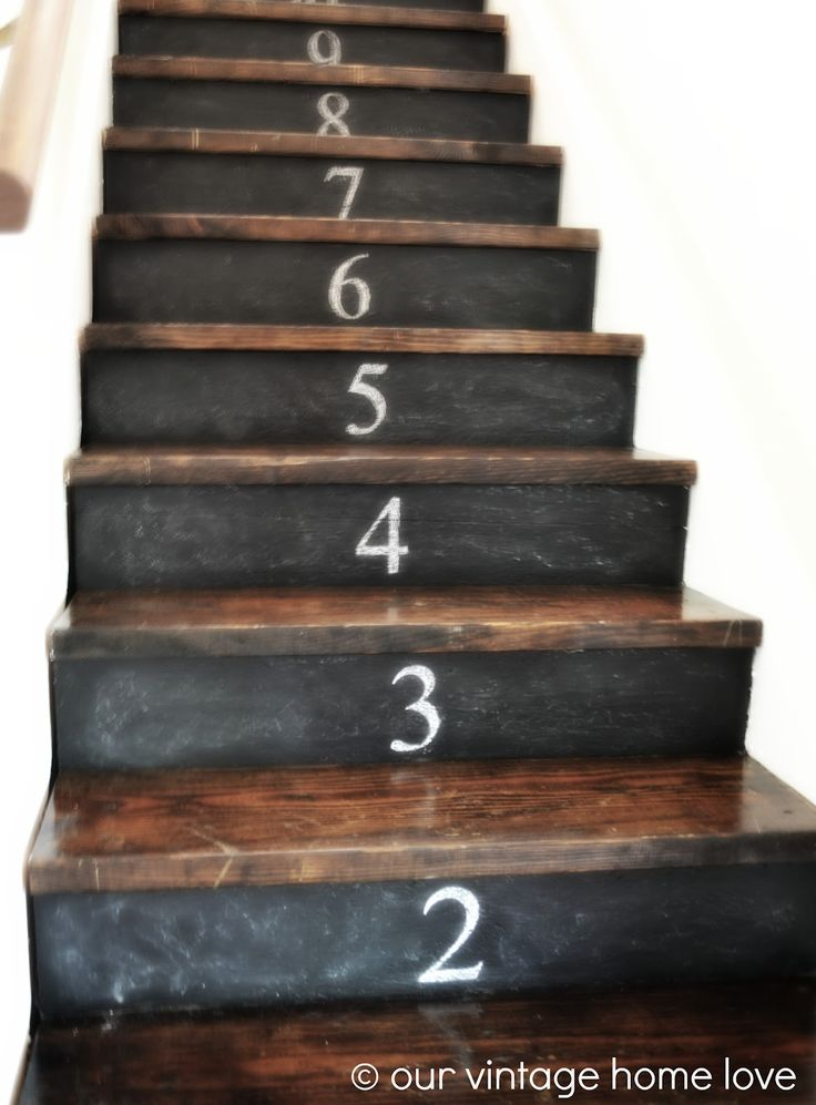 Our Vintage Home Love: A Stairway Project Revisited - chalkboard risers? cute