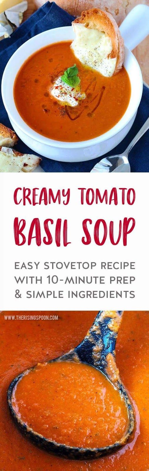 An easy recipe for Creamy Tomato Basil Soup that's healthyrecipes homemade, and only takes about 40 minutes to fix on the stove with just 10 minutes of prep. It's made with simple ingredients like canned tomatoes, fresh basil, and carrots, which results in a light, yet cozy tomatosoup soup that you'll want to make on repeat all year long. {gluten-free & grain-free with dairy-free options} #soup #souprecipes #tomatosoup #easyrecipe #healthyrecipes