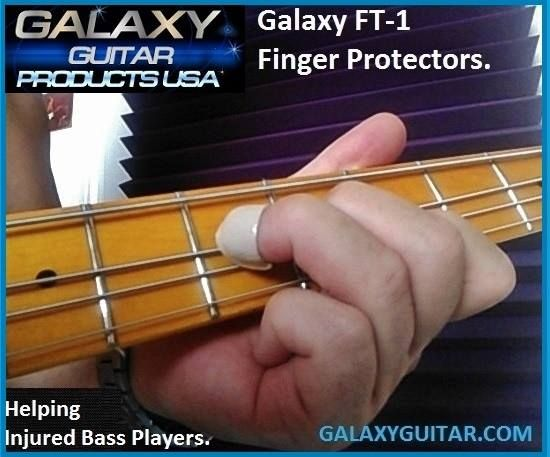 Galaxy FT-1 Finger Protectors provide professional protection for Bass Players as well who suffer from a severe finger injury.  The strongest Musical Finger Protectors On Planet Earth.                                                 Like our new facebook page http://fb.com/galaxyguitarfingerprotectors