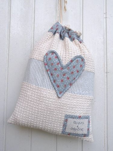 cute String Bag made from Cotton Waffle Fabric