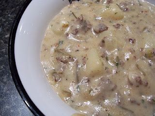 Sausage Potato Soup, mmmm this sounds so good.. I'm going to make this with some Jimmy Dean's sage sausage!