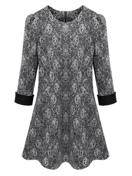 Elegant Round Neck With Zips Lace Plus-size-shift-dress Plus Size Shift Dresses from fashionmia.com