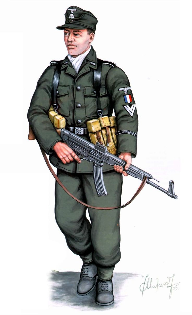 Waffen SS, Berlin 1945, SS Rottenfuhrer de la 33th Waffen Grenadier Division de las SS 'Charlemagne' 1945, armado con un Sturmgewer 44 (Stg 44)