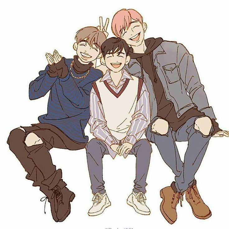 Seongwoo, Daniel e o filho deles Woojin - Peguei essa imagem do instagram não sei de quem é o fanart...