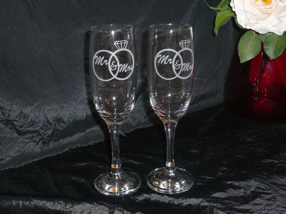 Mr. & Mrs. Champagne Flutes by MagicallyEtched on Etsy, $20.00