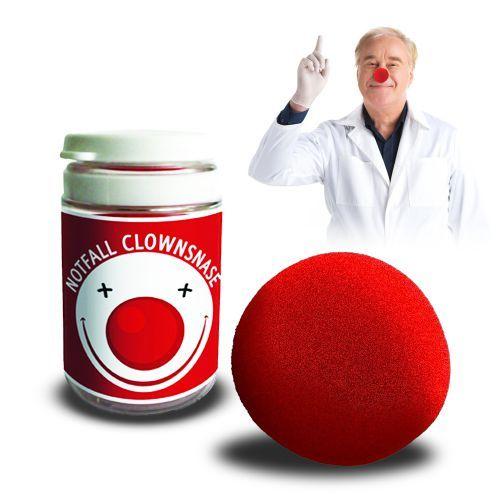Die Notfall Clownsnase sorgt stets für gute Laune: Einfach aufsetzen, blöd gucken und jede gedrückte Stimmung verfliegt sofort!