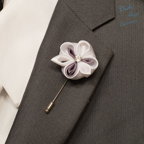 Pansy Lapel Pin  White and Grey Purple Pansy by DidiArtCorner