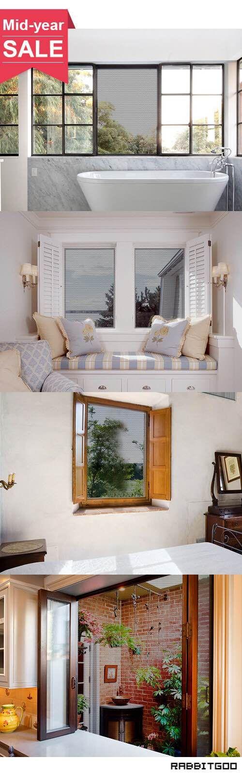@rabbitgooing Rabbitgoo Fliegengitter für Fenster Mückennetze Moskitonetz Gaze Fenster Insektenschutz, selbstklebend, Klettverschluss, anthrazit, durchsichtig, 1,3m x 1,5m