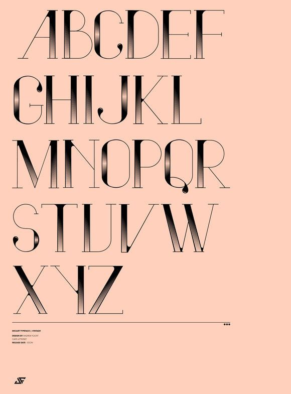 Vindeco is a beautiful decorative typeface with a very vintage feel to it. It was designed by the Johannesburg based designer Andrew Footit.
