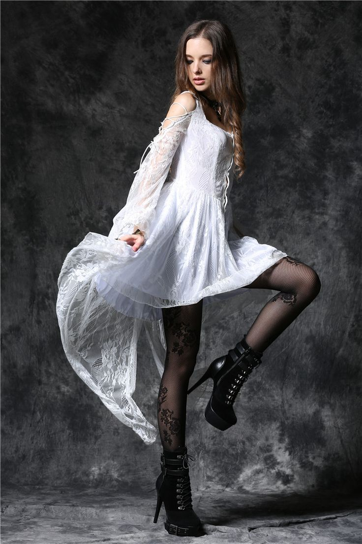 Dark In Love Gothic Ghost Dovetail Lace Dress with Button Front Detail White