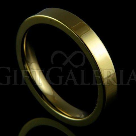 Aliança de casamento em tungstênio ouro Pacífico com espessura de 4mm, formato cilíndrico e reto clássico.