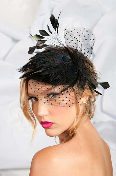 A pleasantly subdued peacock fascinator