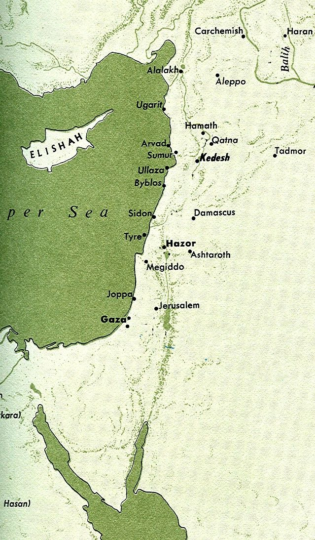 Mapa del Mediterráneo oriental con las principales ciudades fenicio-cananeas, hebreas, arameas y hurritas.