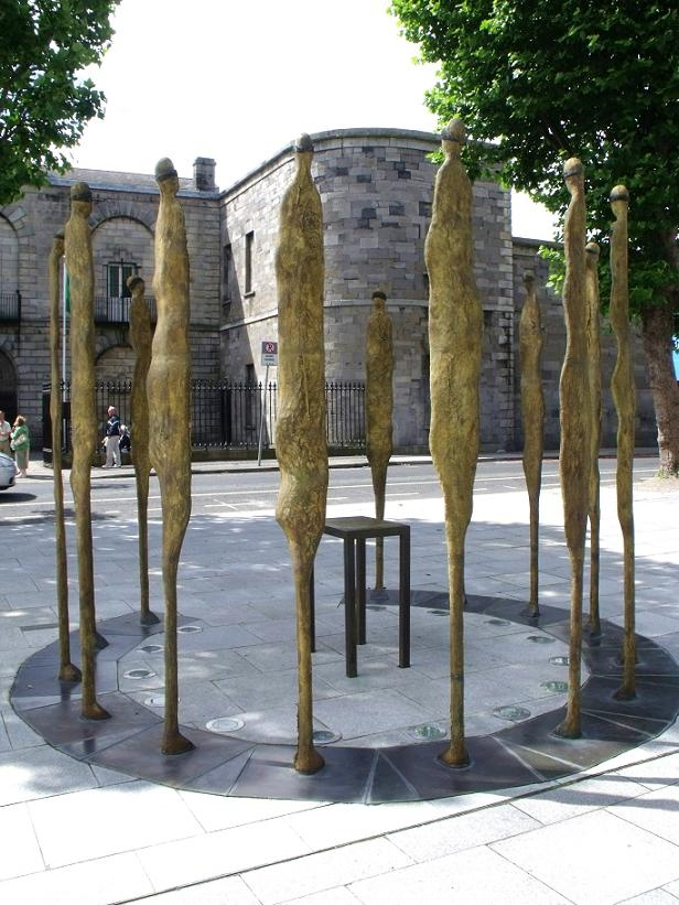 'Proclamation' Sculpture by Rowan Gillespie outside Kilmainham Jail representing the martyrs of the 1916 Irish Rebellion.