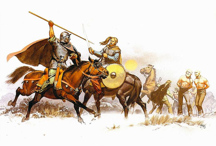 """Western German raiders releasing kinsmen from central German -Suebi- slavers, late I st century. The horseman wears captured Roman parade armour"", Angus McBride"