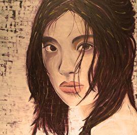 Schilderij van een Aziatische vrouw. Geschilderd met acrylverf met diverse technieken