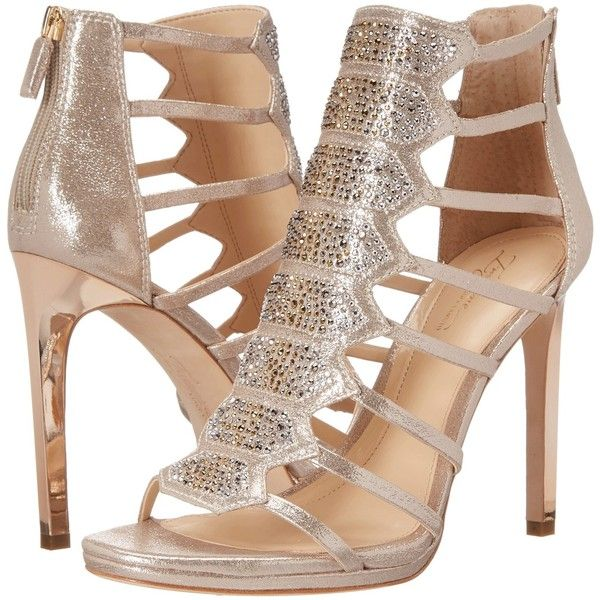 Imagine Vince Camuto Gavin (Soft Gold) Women's Shoes ($135) ❤ liked on Polyvore featuring shoes, gold, evening shoes, cage shoes, gold shoes, gold special occasion shoes and open toe shoes