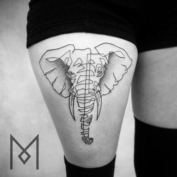German-Iranian tattoo artist Mo Ganji creates single line tattoos that are simple yet unusual and impactful. His single line tattoos are unique. Line Drawing Tattoos, One Line Tattoo, Single Line Tattoo, Elephant Tattoo Design, Elephant Tattoos, Elephant Thigh Tattoo, Elephant Design, Unique Tattoos, Cool Tattoos