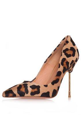 Britton Metal Heel Pointed Stiletto by Kurt Geiger - Heels  - Shoes - animal print - leopard - cheetah